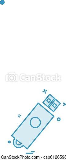 vektor, tervezés, usb, ikon - csp61265986