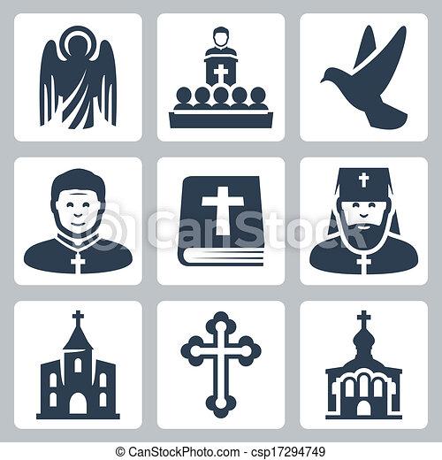 vektor, vallás, állhatatos, keresztény, ikonok - csp17294749