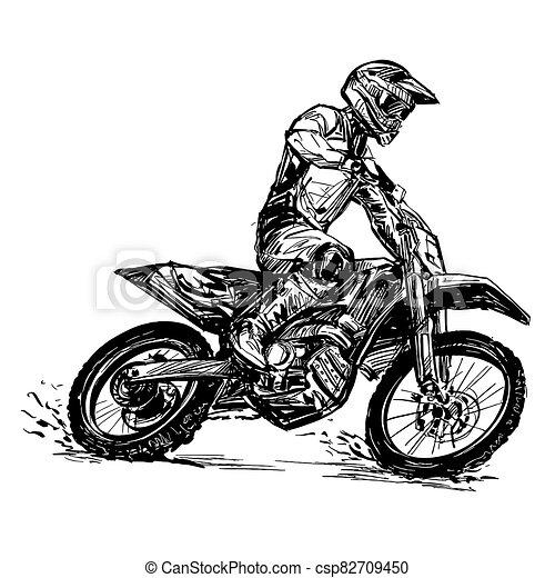 verseny, motokrossz, rajz - csp82709450