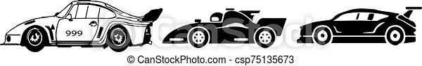 versenyzés, háttér, elszigetelt, fehér, ikon, autó - csp75135673