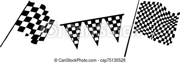 versenyzés, háttér, lobogó, elszigetelt, fehér, ikon - csp75135528