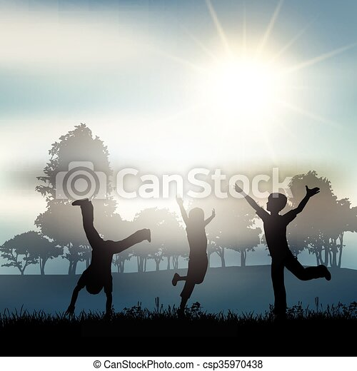 vidéki táj, gyermekek játék - csp35970438