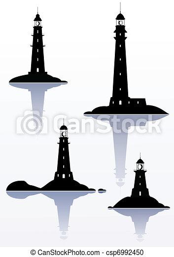 világítótorony, -, elszigetelt, négy, ábra, fehér - csp6992450