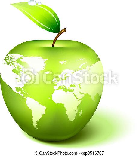 világ térkép, földgolyó, alma - csp3516767