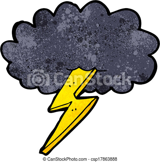 villámlás elzár, felhő, karikatúra - csp17863888