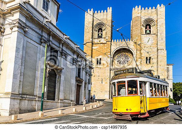 villamos, történelmi, 28, sárga, lisszabon - csp14997935