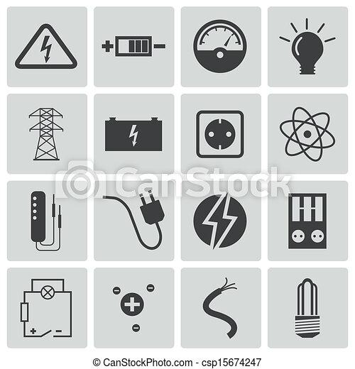 villanyáram, vektor, fekete, állhatatos, ikonok - csp15674247
