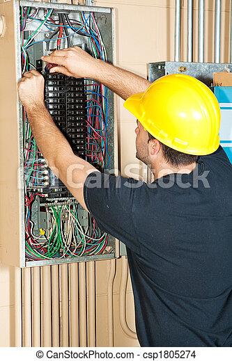 villanyszerelő, elektromos, dolgozó, bizottság - csp1805274