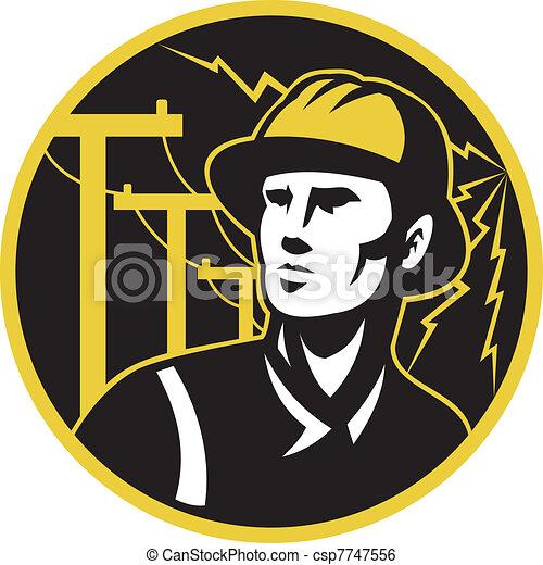 villanyszerelő, repairman, erő, pályaőr, lengyel - csp7747556