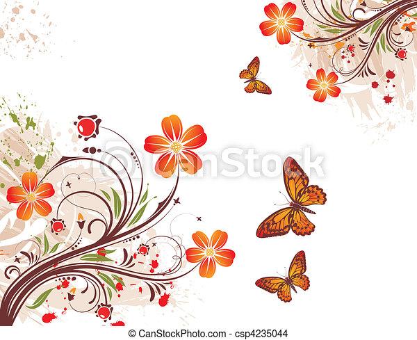 virág, grunge, háttér - csp4235044