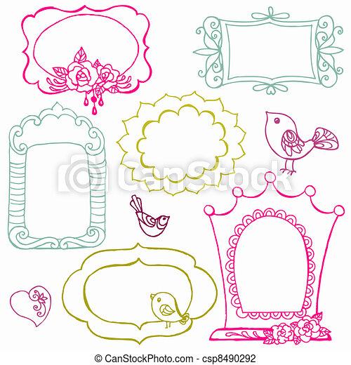 virág, kellemes, -, vektor, szórakozottan firkálgat, keret, madarak, alapismeretek - csp8490292