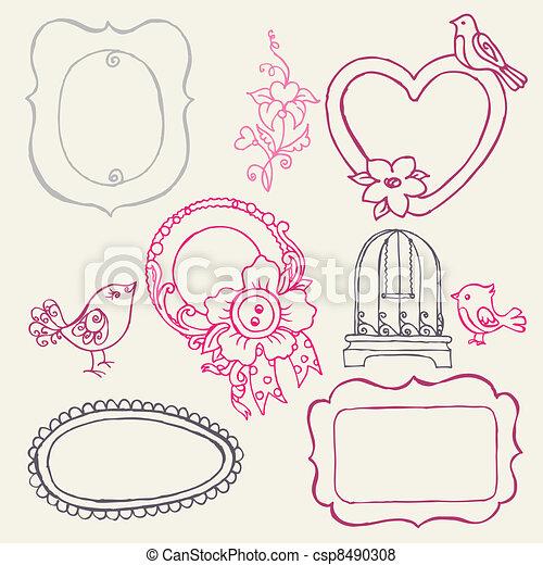 virág, kellemes, -, vektor, szórakozottan firkálgat, keret, madarak, alapismeretek - csp8490308