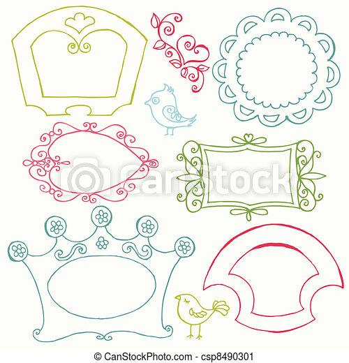 virág, kellemes, -, vektor, szórakozottan firkálgat, keret, madarak, alapismeretek - csp8490301