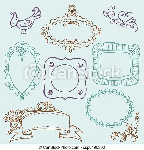 virág, kellemes, -, vektor, szórakozottan firkálgat, keret, madarak, alapismeretek - csp8490300