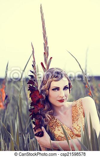 virág, nő, mező, gyönyörű - csp21598578