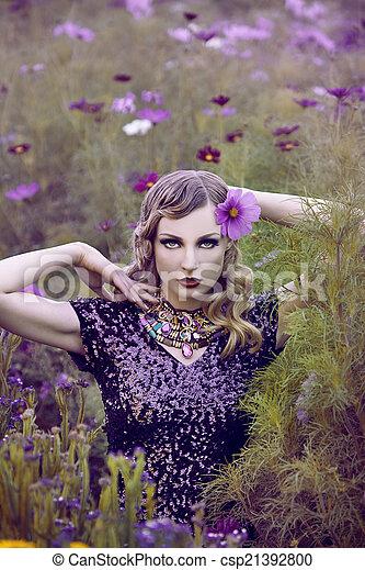 virág, nő, mező, gyönyörű - csp21392800