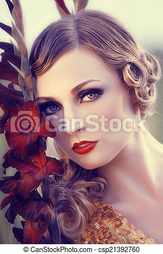 virág, nő, mező, gyönyörű - csp21392760