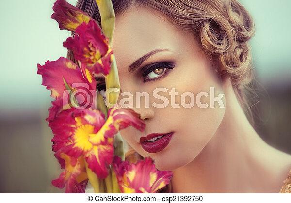 virág, nő, mező, gyönyörű - csp21392750