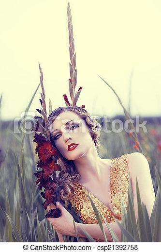 virág, nő, mező, gyönyörű - csp21392758