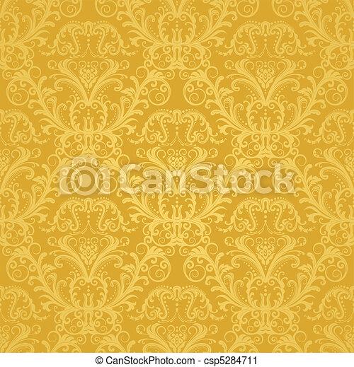 virágos, arany-, tapéta, fényűzés - csp5284711