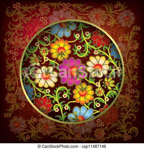 virágos, díszítés, elvont, grunge, háttér - csp11487146