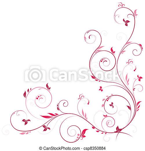 virágos, sarok, rózsaszínű, szín - csp8350884