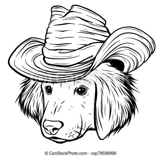 vizsla, labrador, szürke, súlyos, karikatúra, kutya, kalap, csípőre szabott, selyem, vektor - csp79598999