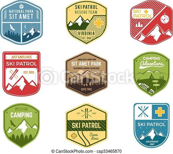 wilderness., állhatatos, járőr, szín, hódeszka, külső, jel, design., hegy, tél, kempingezés, szüret, utazás, csípőre szabott, húzott, síel, insignia., felfedező, klub, labels., kéz, kaland, jelkép., ikon, badges., vektor - csp33465870