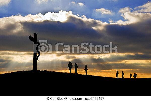witth, gyalogló, jó, árnykép, krisztus, emberek, péntek, feláll, kereszt, felé, hegy, keresztre feszítés, jézus, húsvét - csp5455497