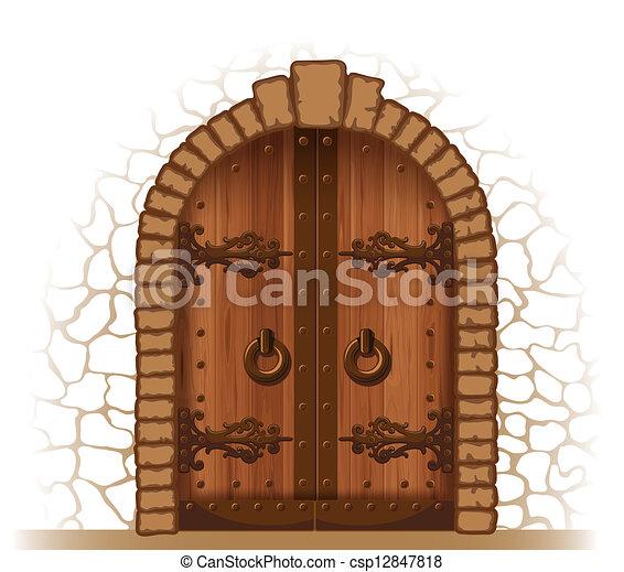 wooden ajtó - csp12847818