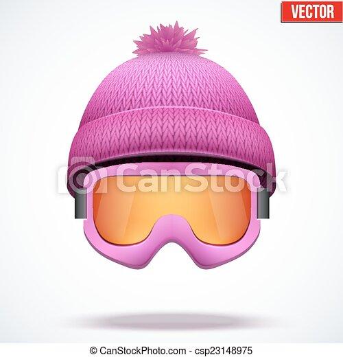 woolen, rózsaszínű, tél, sapka, hó, ábra, kötött, vektor, évszaki, hat., goggles., sport - csp23148975
