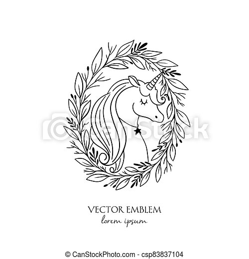 wreath., ábra, egyszarvú, fehér, varázslatos, fekete - csp83837104