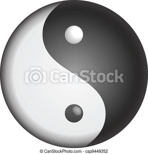 yin, jelkép, vektor, yang - csp9449352