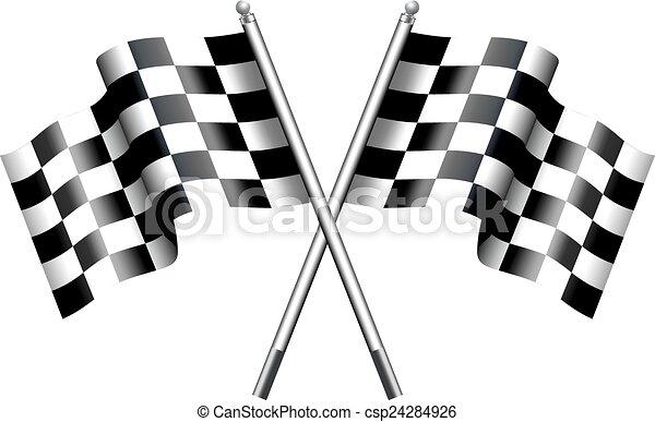 zászlók, versenyzés, motor, kockás - csp24284926