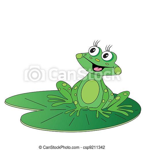 zöld lap, béka, ülés - csp9211342